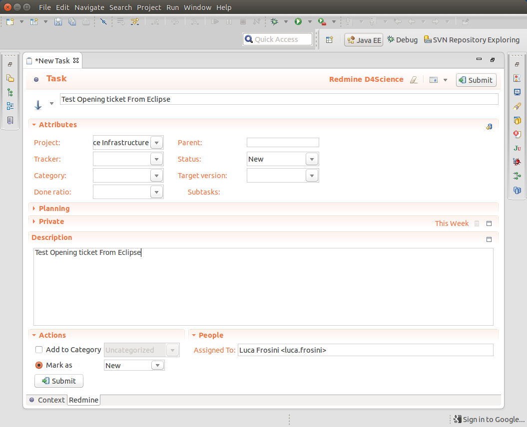 Integrate Redmine 2 6 3 with Eclipse Kepler using Redmine