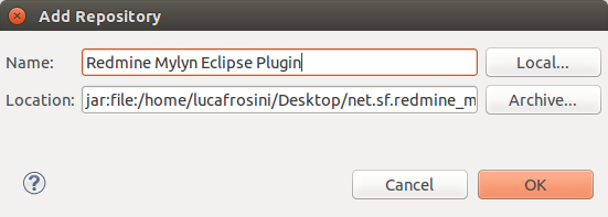 Redmine Mylyn Connector Eclipse Install Window